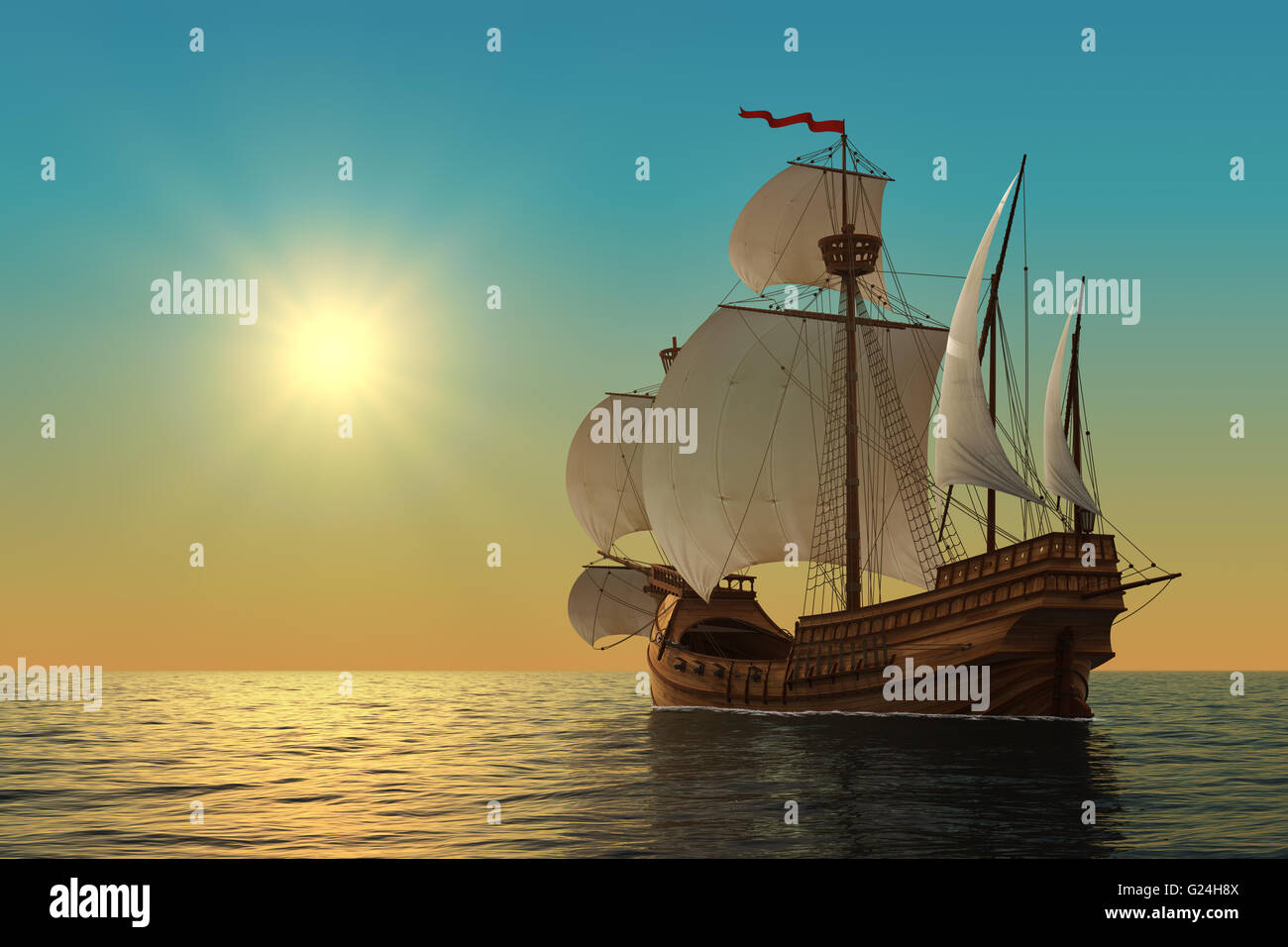 Caravel In The Ocean - Stock Image