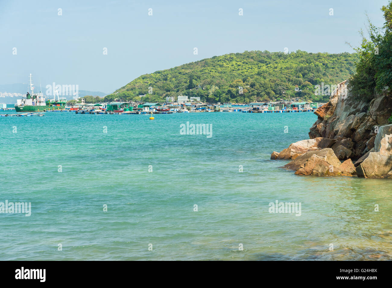 Lamma Island East Coast with Luk Chau Tsuen village - Stock Image