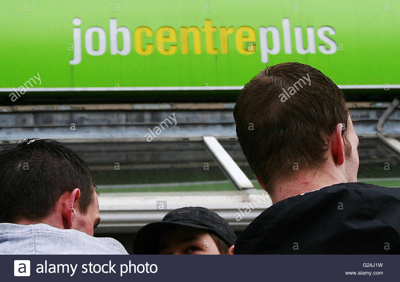 Embargoed to 0001 Tuesday May 24 File photo dated 19/03/09 of a Job Centre Plus branch, as most people looking for Stock Photo