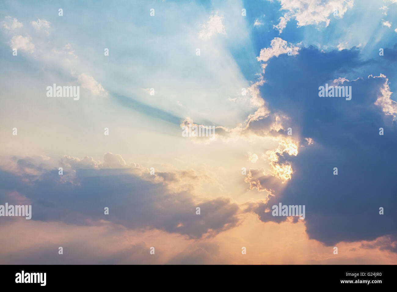 Beautiful Beam of light and the clouds - Stock Image