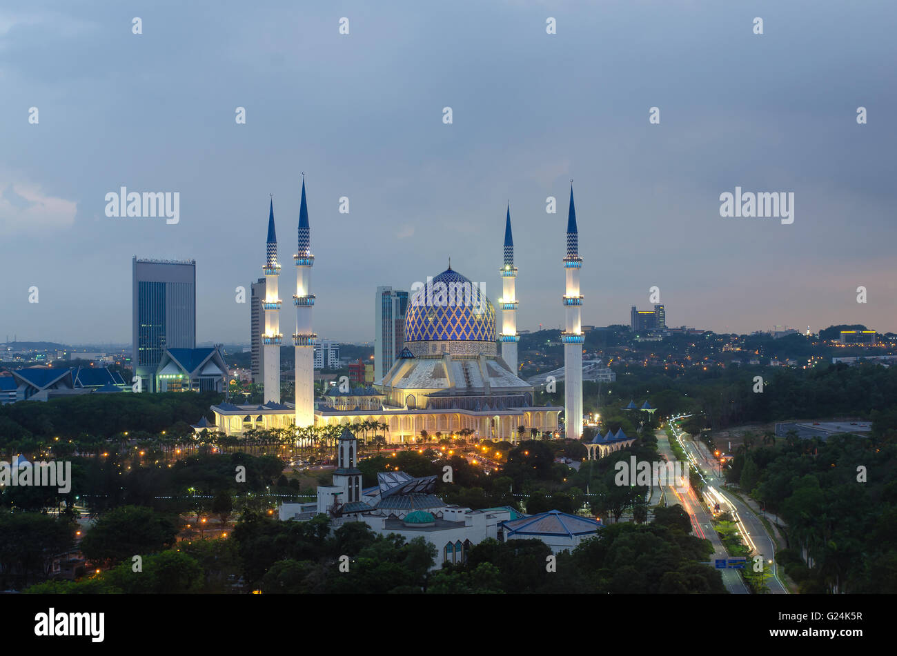 The beautiful Sultan Salahuddin Abdul Aziz Shah Mosque (also known as the Blue Mosque) located at Shah Alam, Selangor, - Stock Image
