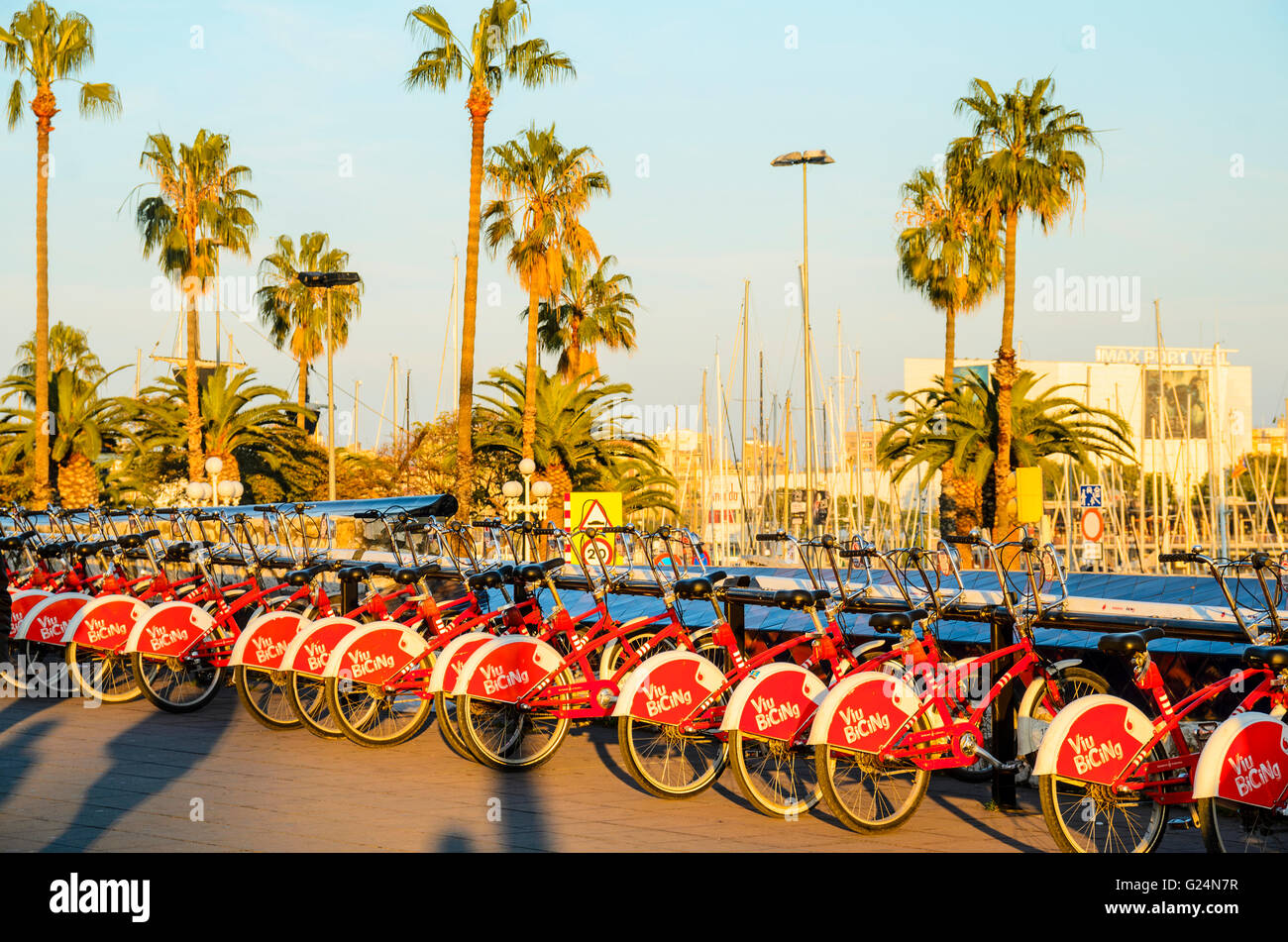 Bicing city bikes at Port Vell Barcelona - Stock Image