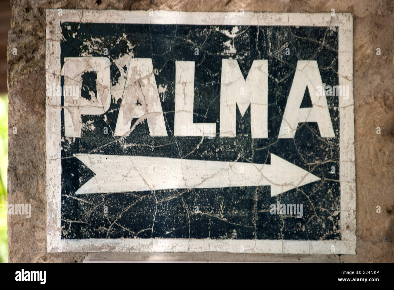 a beautiful picture of a stone indication for the city of Palma, Palma de Mallorca, Palma di Maiorca, summer, tourism, - Stock Image