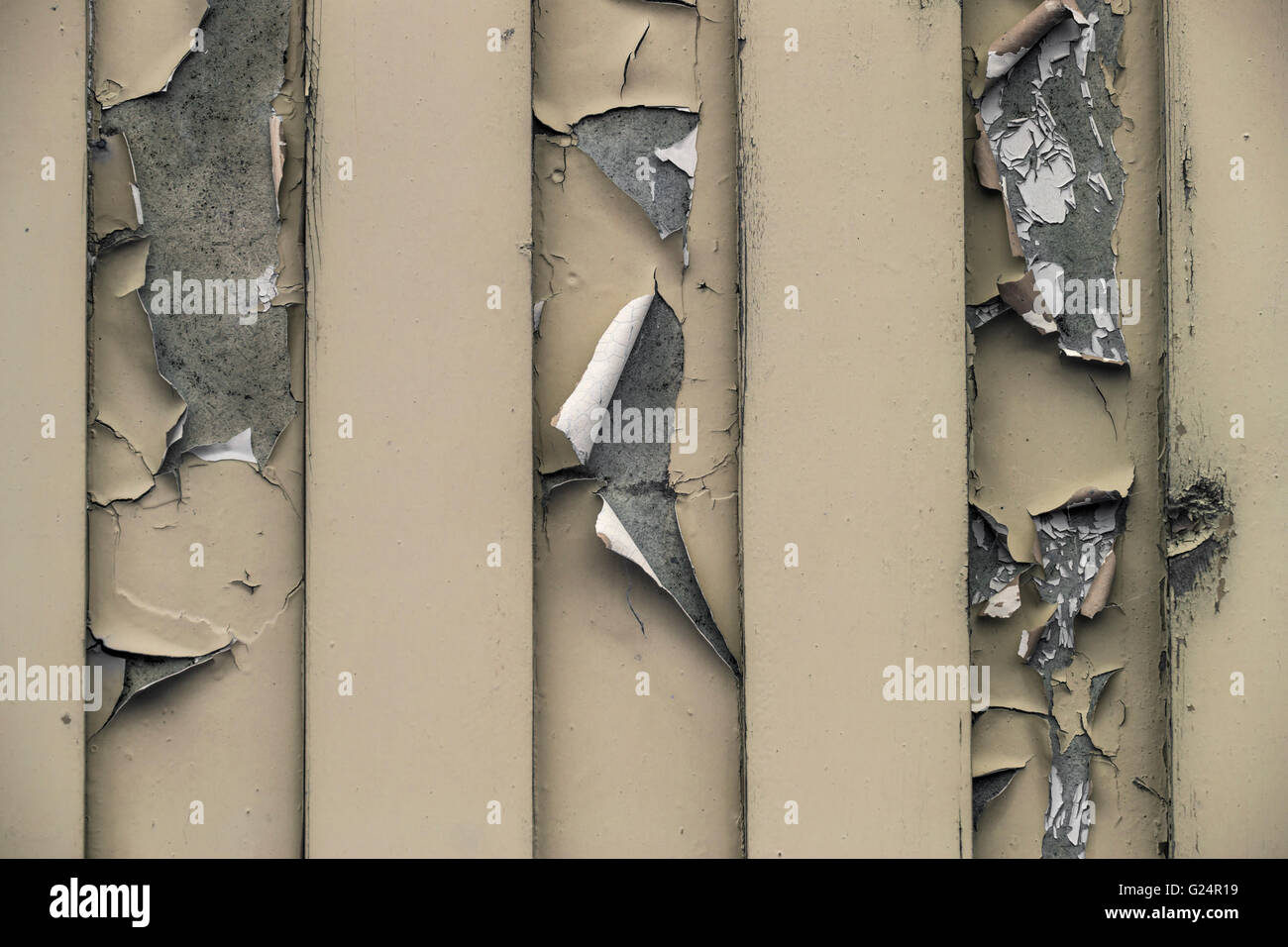 Dry, cracked and peeling paint. - Stock Image