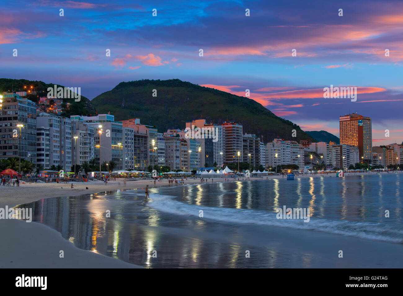 Copacabana beach at night Stock Photo