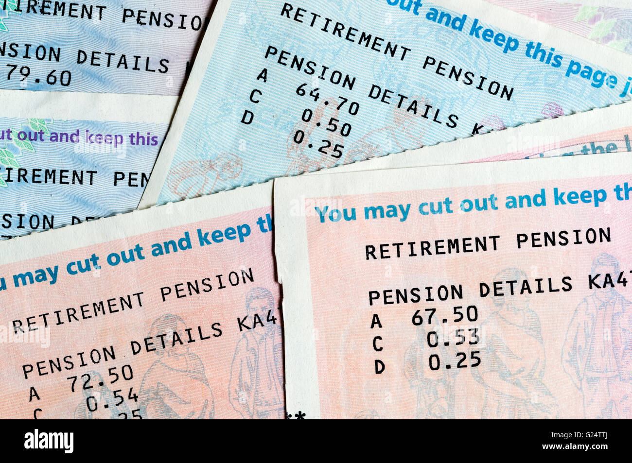 UK retirement pension details. - Stock Image