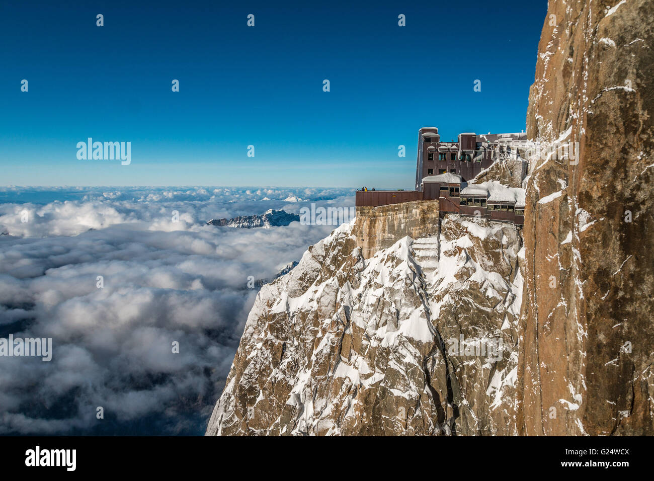 Aiguille du Midi in French alps - Stock Image