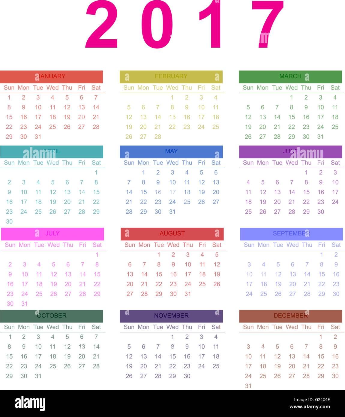calendar 2017 monthly calendar of 2017 stock photo 104599838 alamy