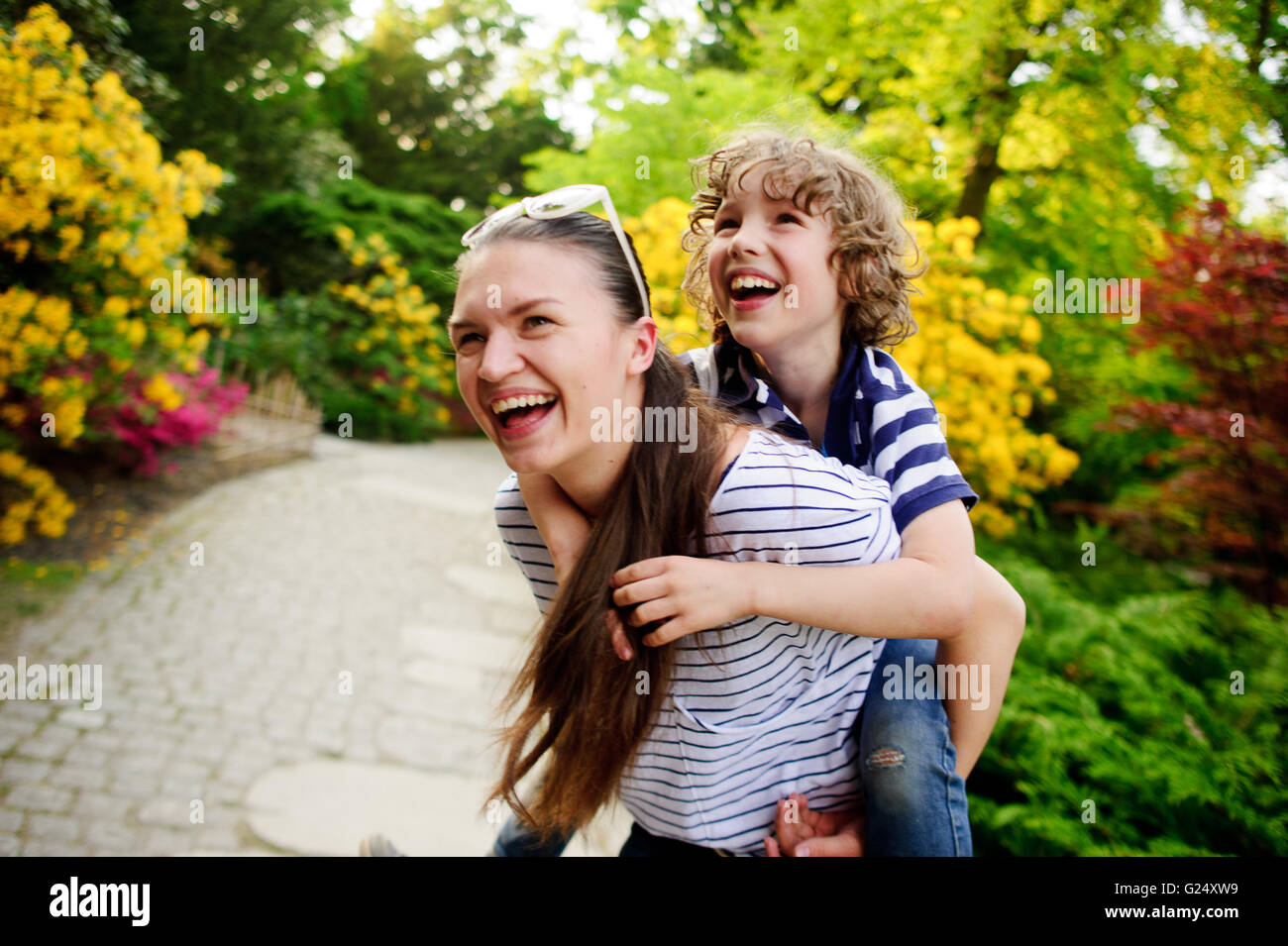 Woman with her son on a walk - Stock Image