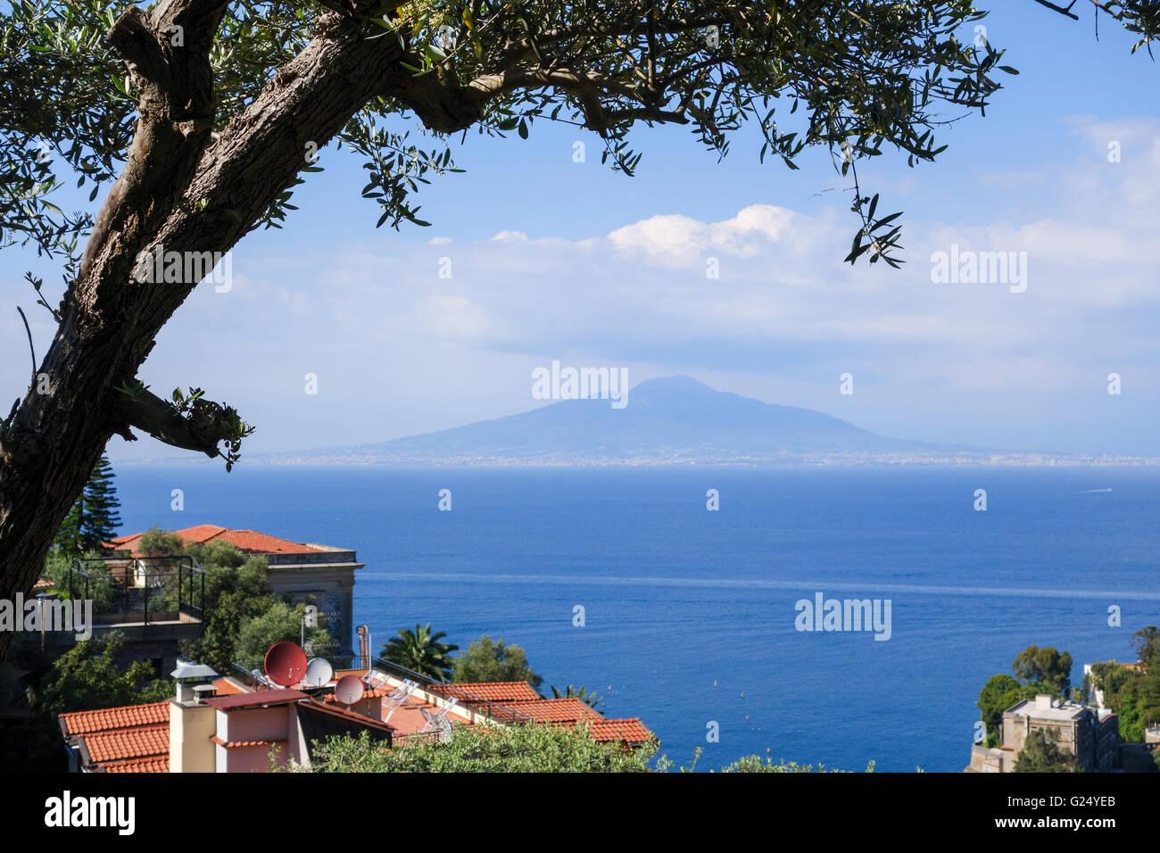A view of Vesuvius towards the Bay of Naples Sorrento on the Sorrentine Peninsula Campania Italy Europe - Stock Image