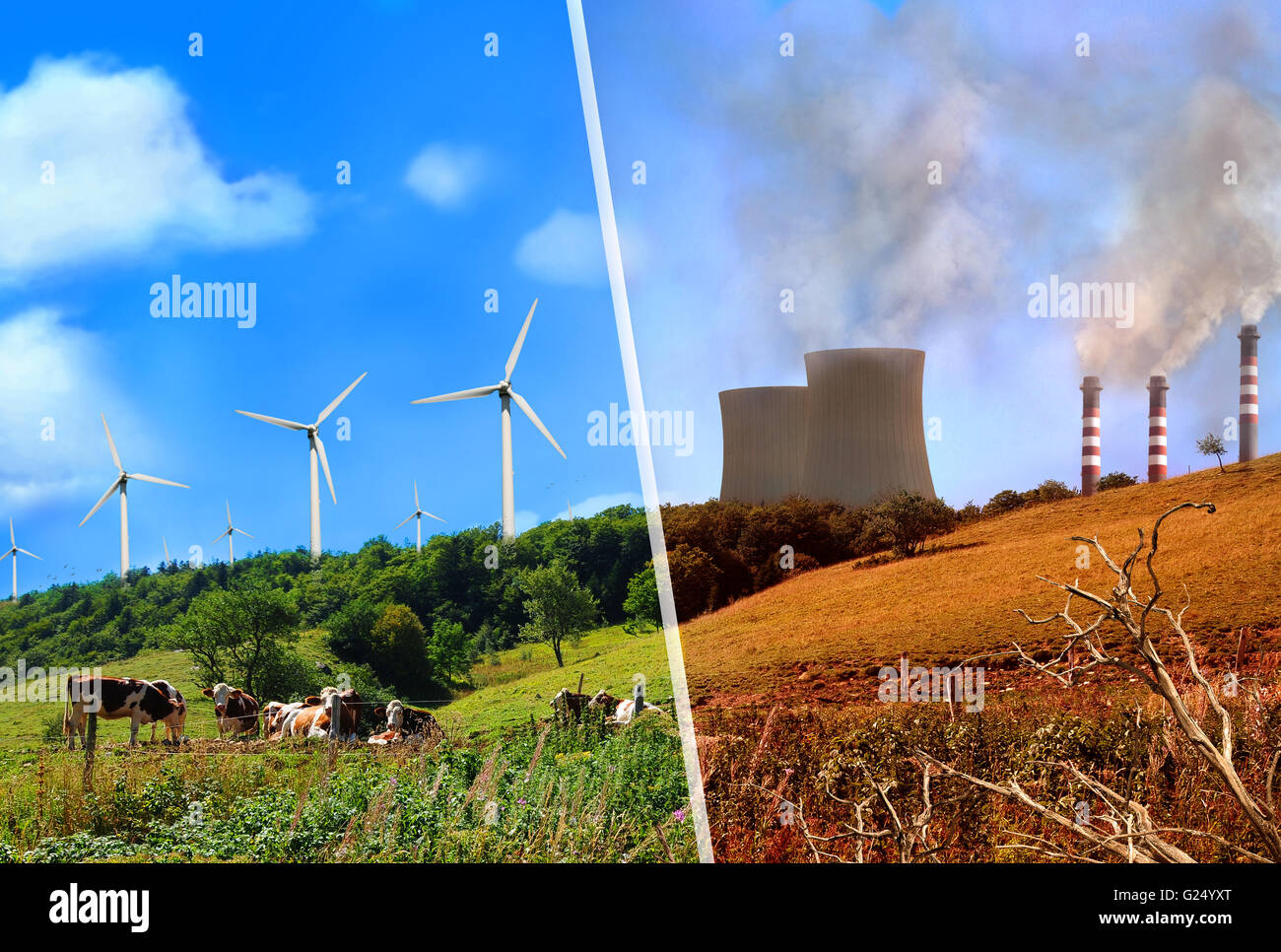 Comparison of plant renewable energy and energy factories classic. Mountain landscape clean and healthy vs dirty - Stock Image