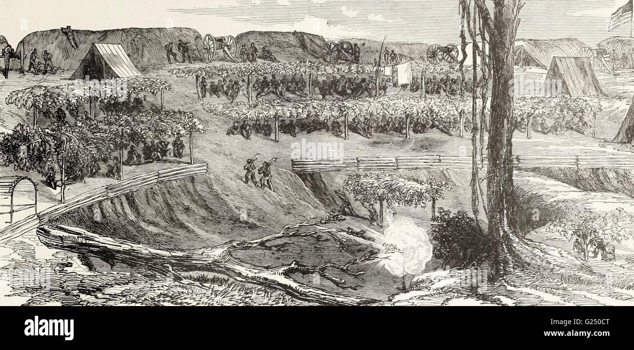 Waterhouse's Battery, Sherman's Corps, before Vicksburg. USA Civil War - Stock Image