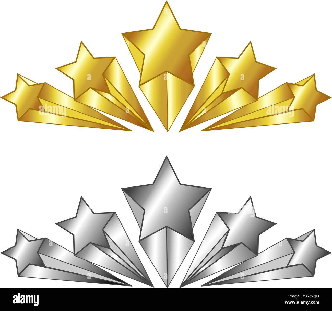 vector 5 star symbol in gold and silver colors isolated
