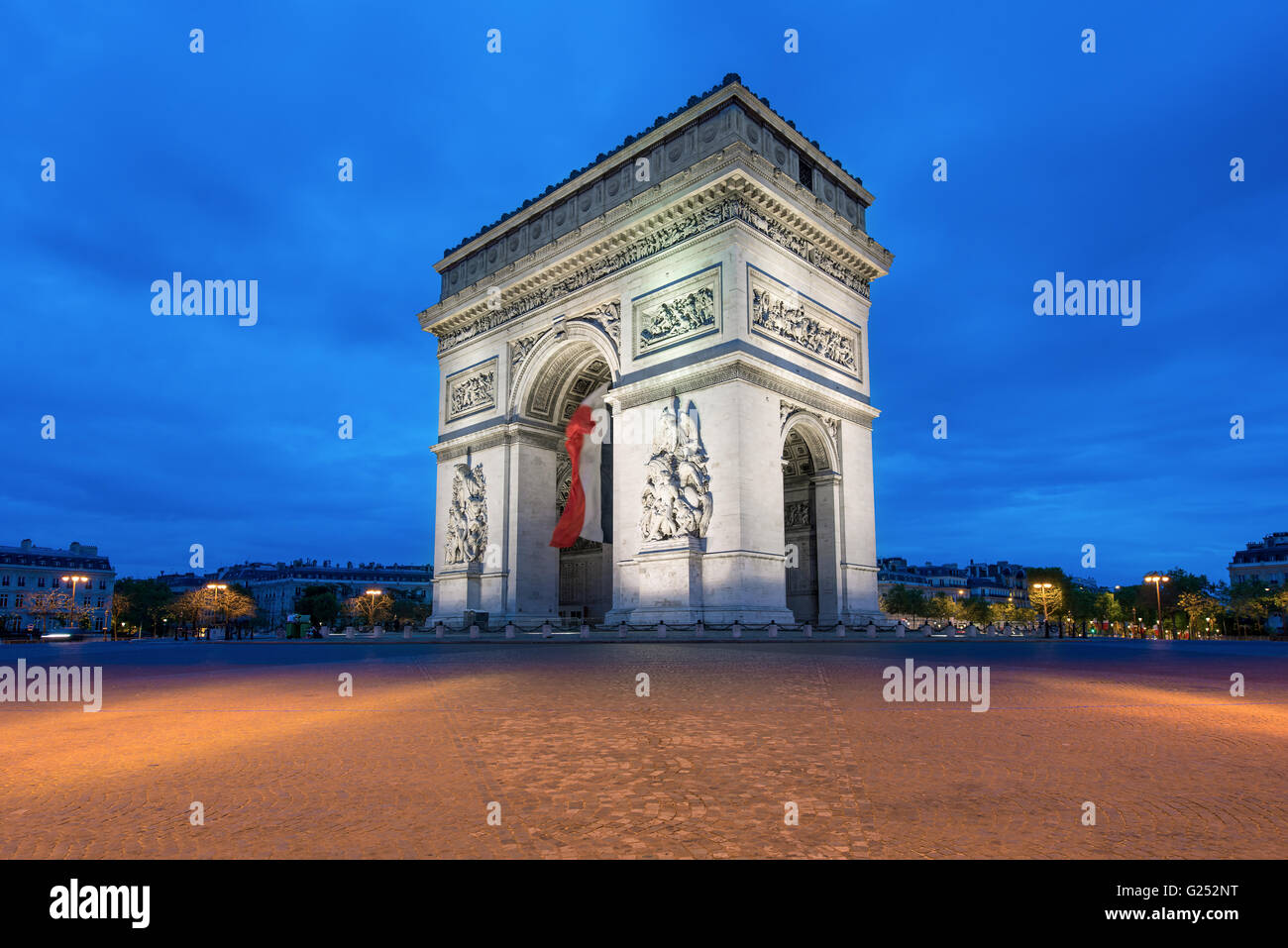 Arc de Triomphe at sunset in Paris, France - Arch of Triumph - Stock Image