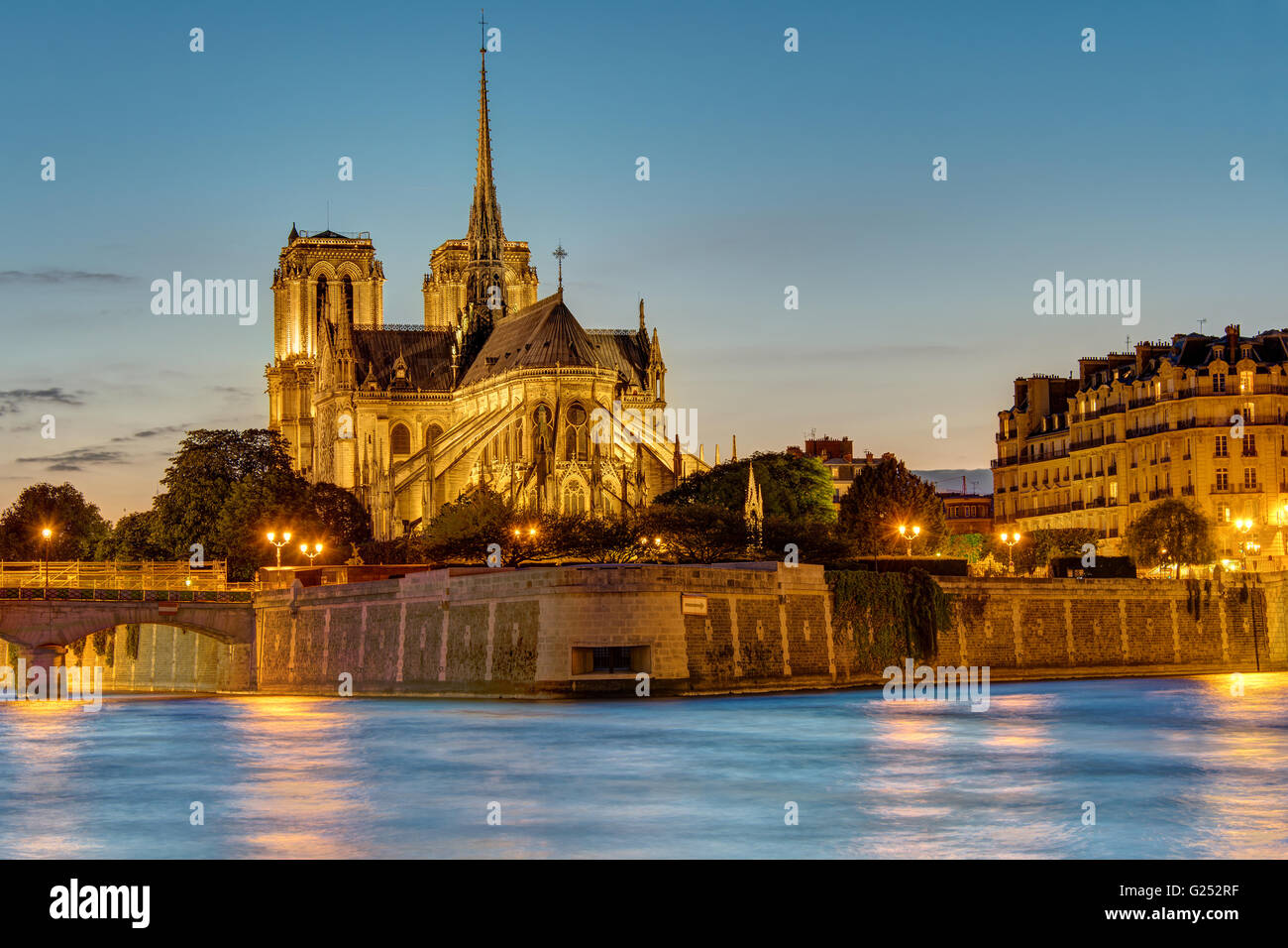 The famous Notre Dame cathedral in Paris at dawn - Stock Image