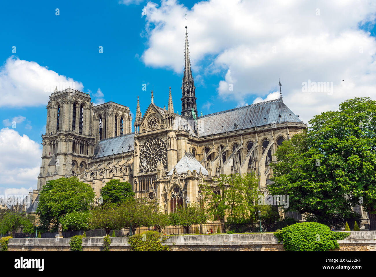 The famous Notre Dame cathedral in Paris on a summer day - Stock Image