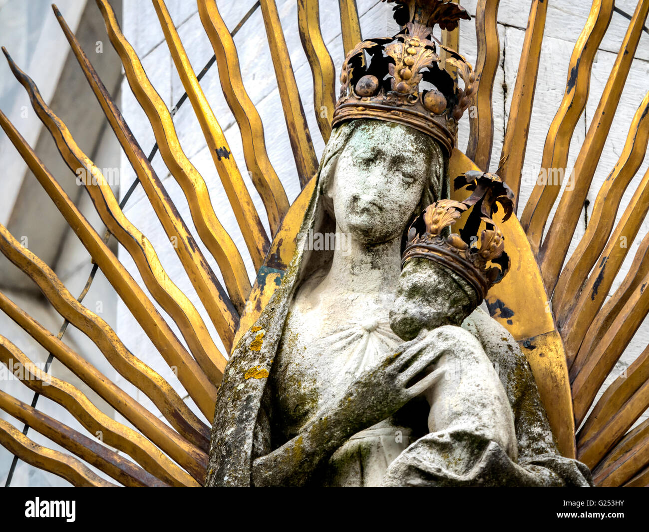 San Michele in Foro medieval church detail. Lucca, Tuscany, Italy - Stock Image