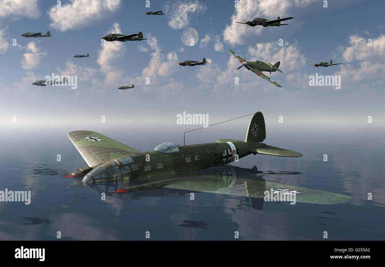A Heinkel He 111 Bomber, Shot Down  Over The English Channel, During 'The Battle Of Britain' - Stock Image