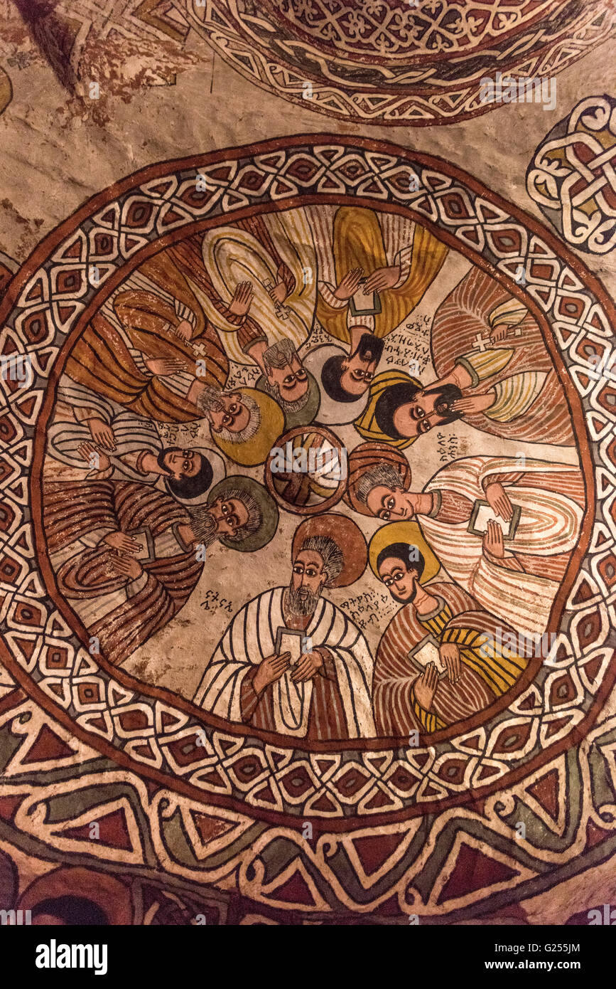 Painting inside rock-cut churches Gheralta, Ethiopia - Stock Image