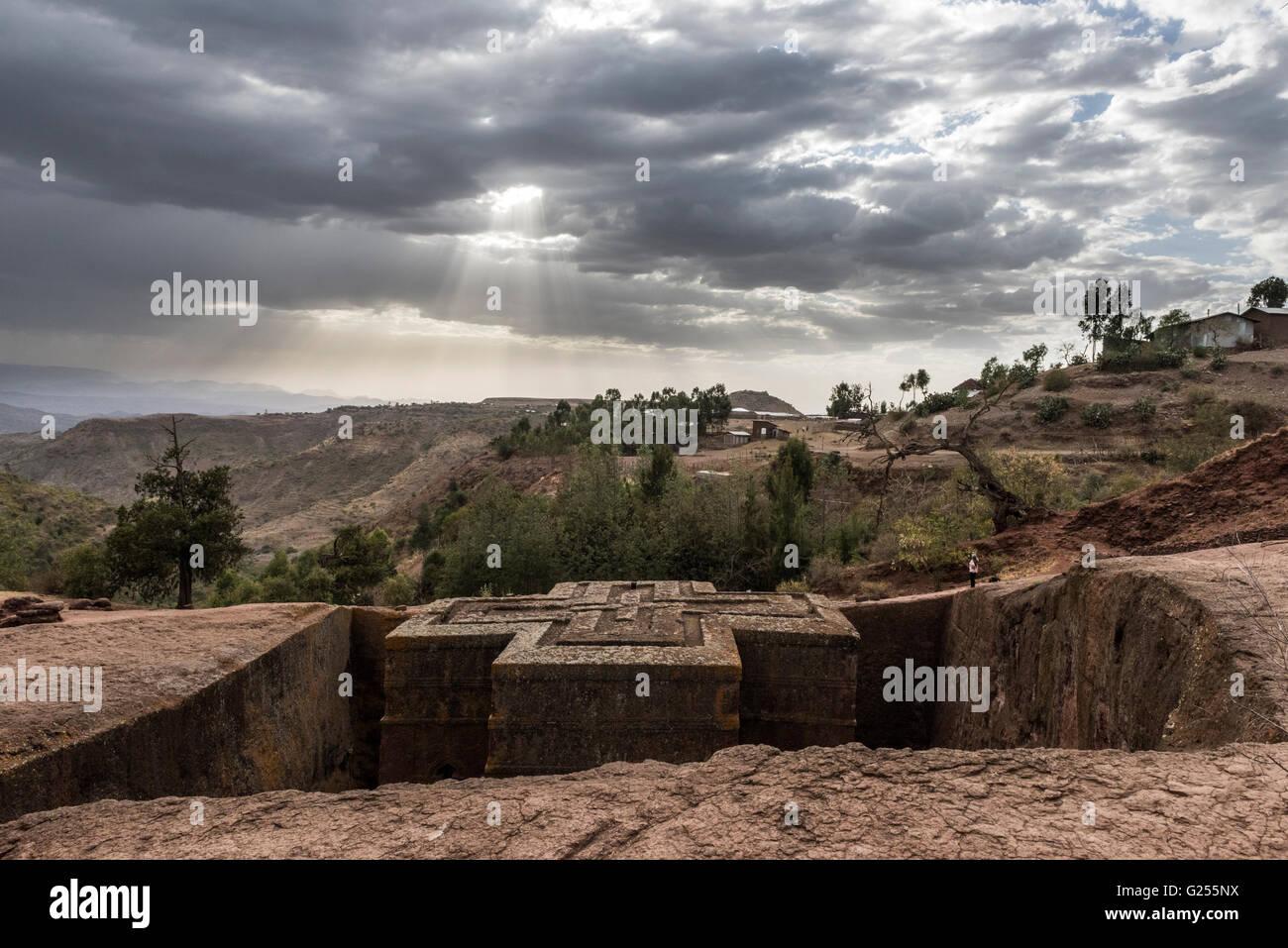 View of Saint George rock-cut church Lalibela, Ethiopia - Stock Image