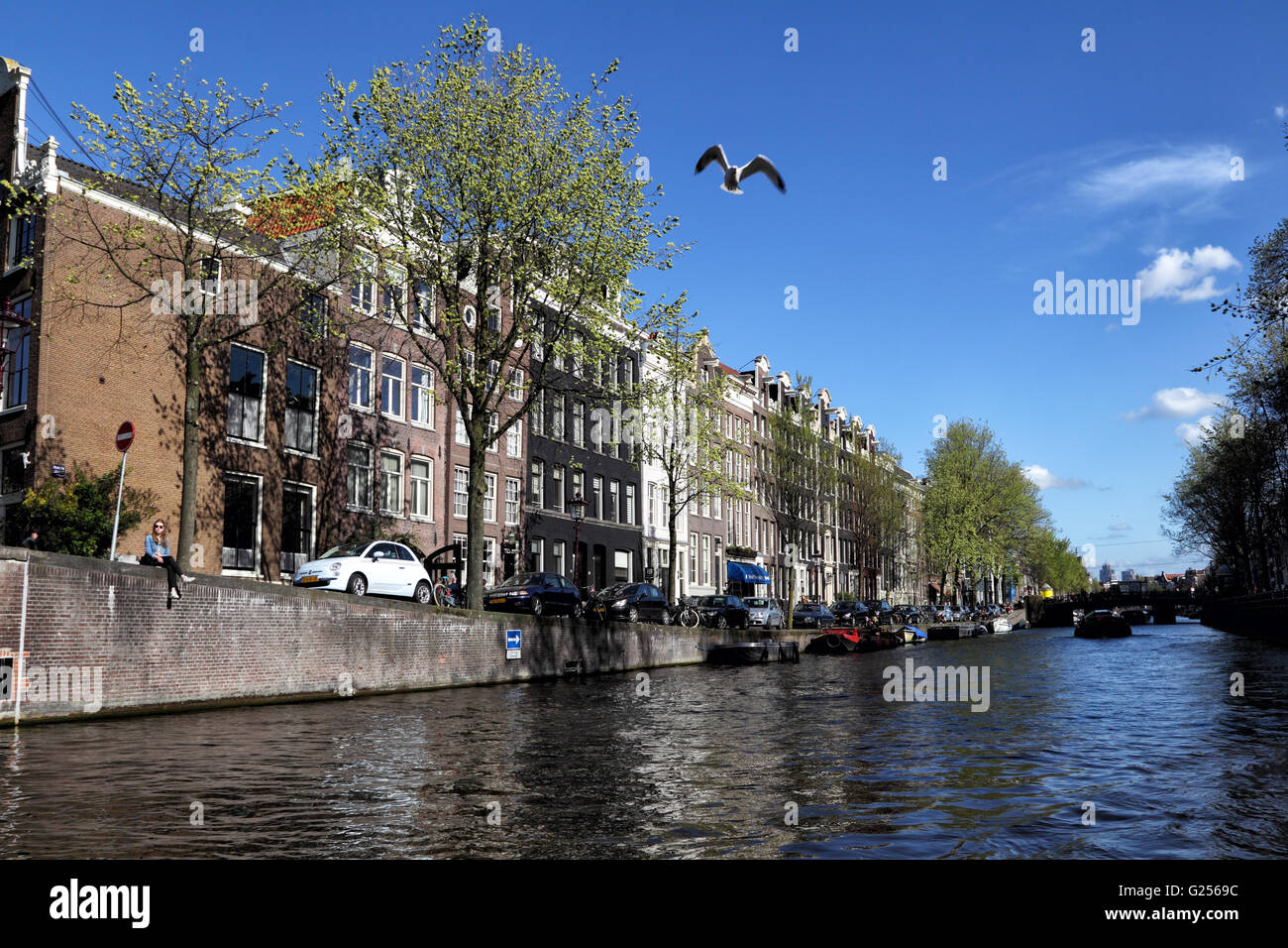View on the Prinsengracht in Amsterdam, Netherlands, Europe. - Stock Image