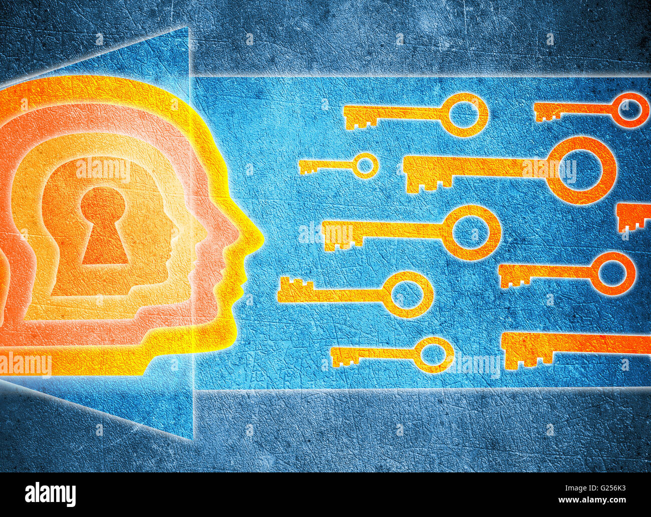 human head  with keyhole and keys psychology concept digital illustration - Stock Image
