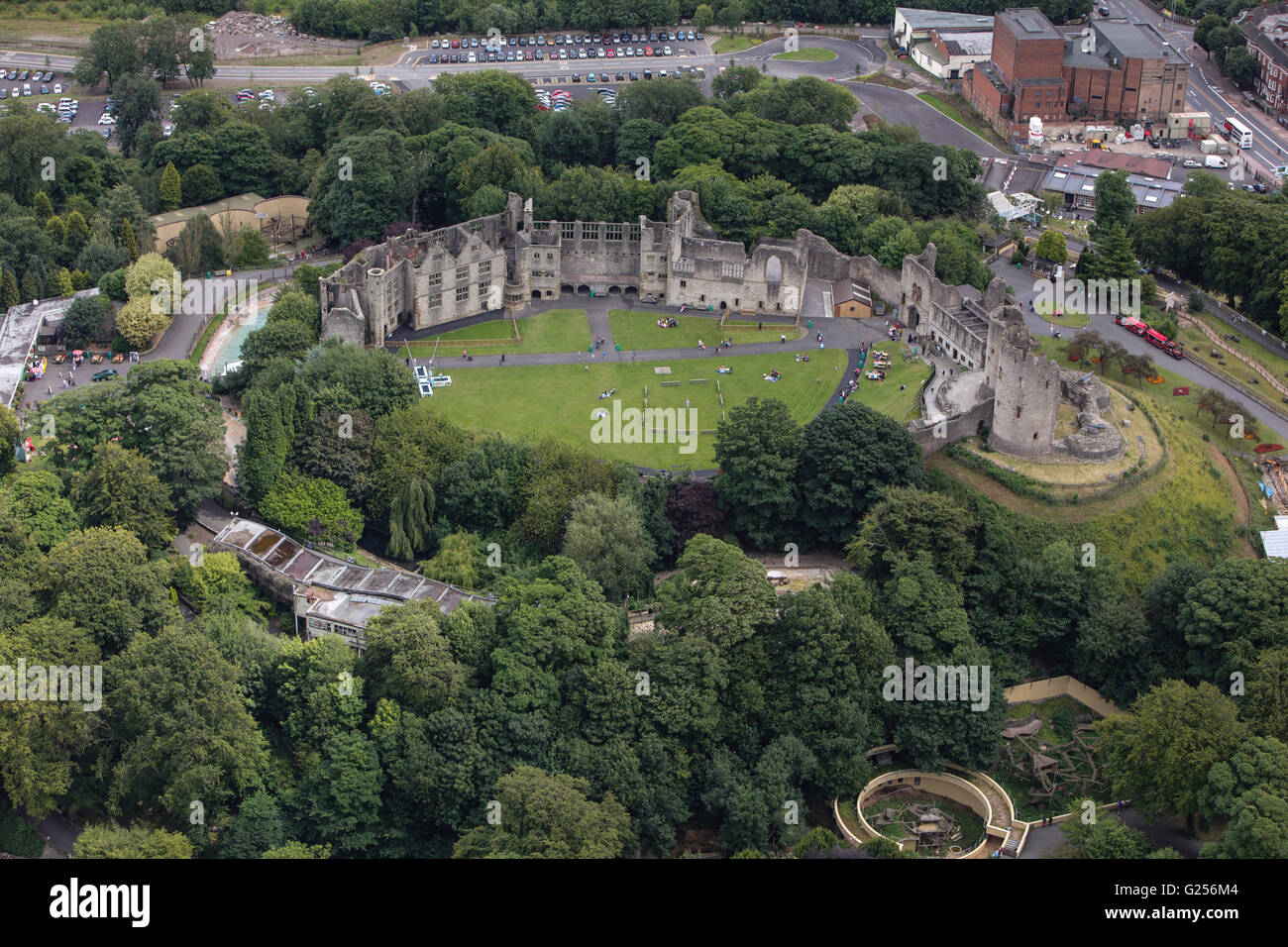An aerial view of Dudley Castle, a ruined fortification in the West Midlands - Stock Image