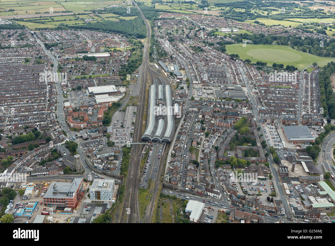 An aerial view of the town of Darlington, County Durham, centred around the Railway Station - Stock Image