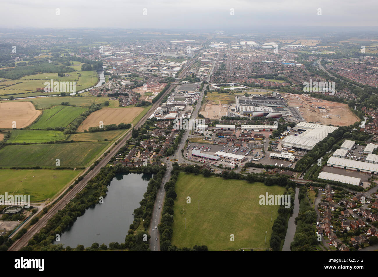 An aerial view of the East Staffordshire town of Burton upon Trent - Stock Image