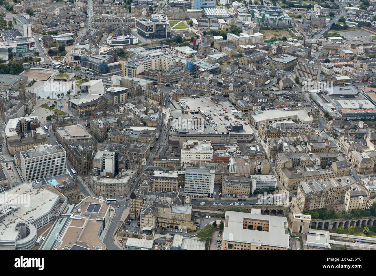An aerial view of Bradford city centre, West Yorkshire - Stock Image