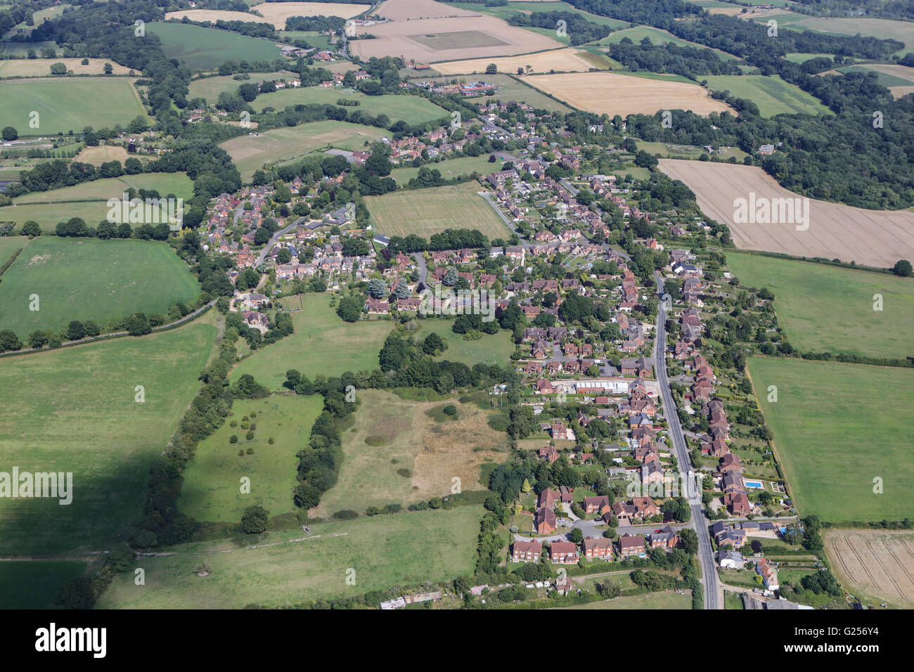 An aerial view of the village of Bradfield Southend, Berkshire - Stock Image