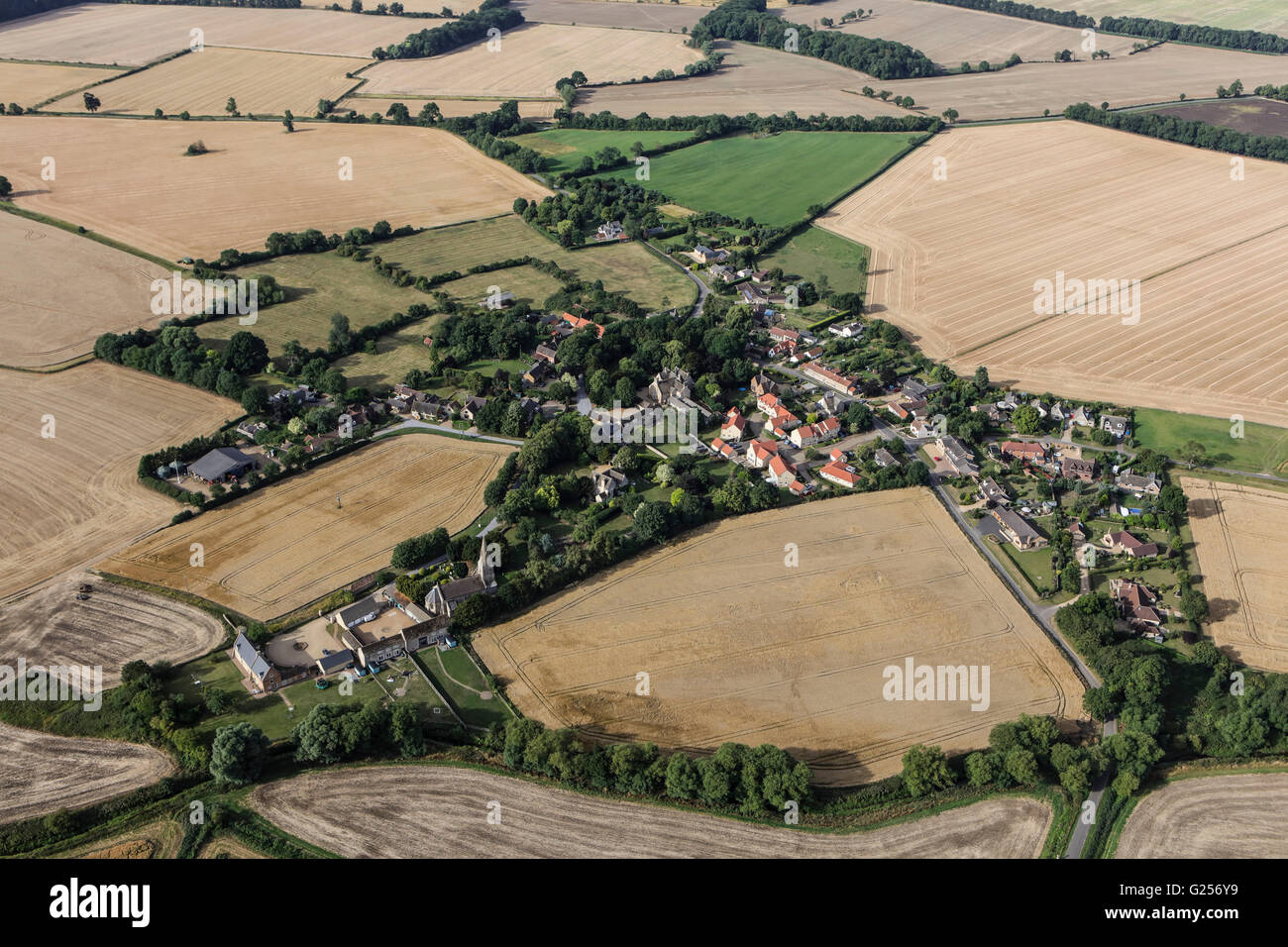 An aerial view of the hamlet of Braceborough, South Lincolnshire Stock Photo