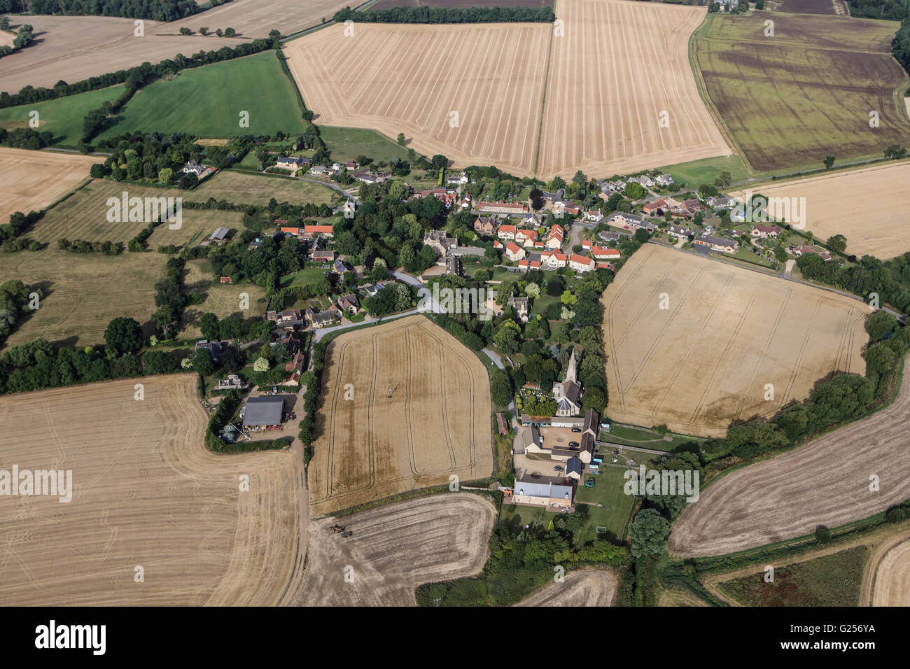 An aerial view of the hamlet of Braceborough, South Lincolnshire - Stock Image