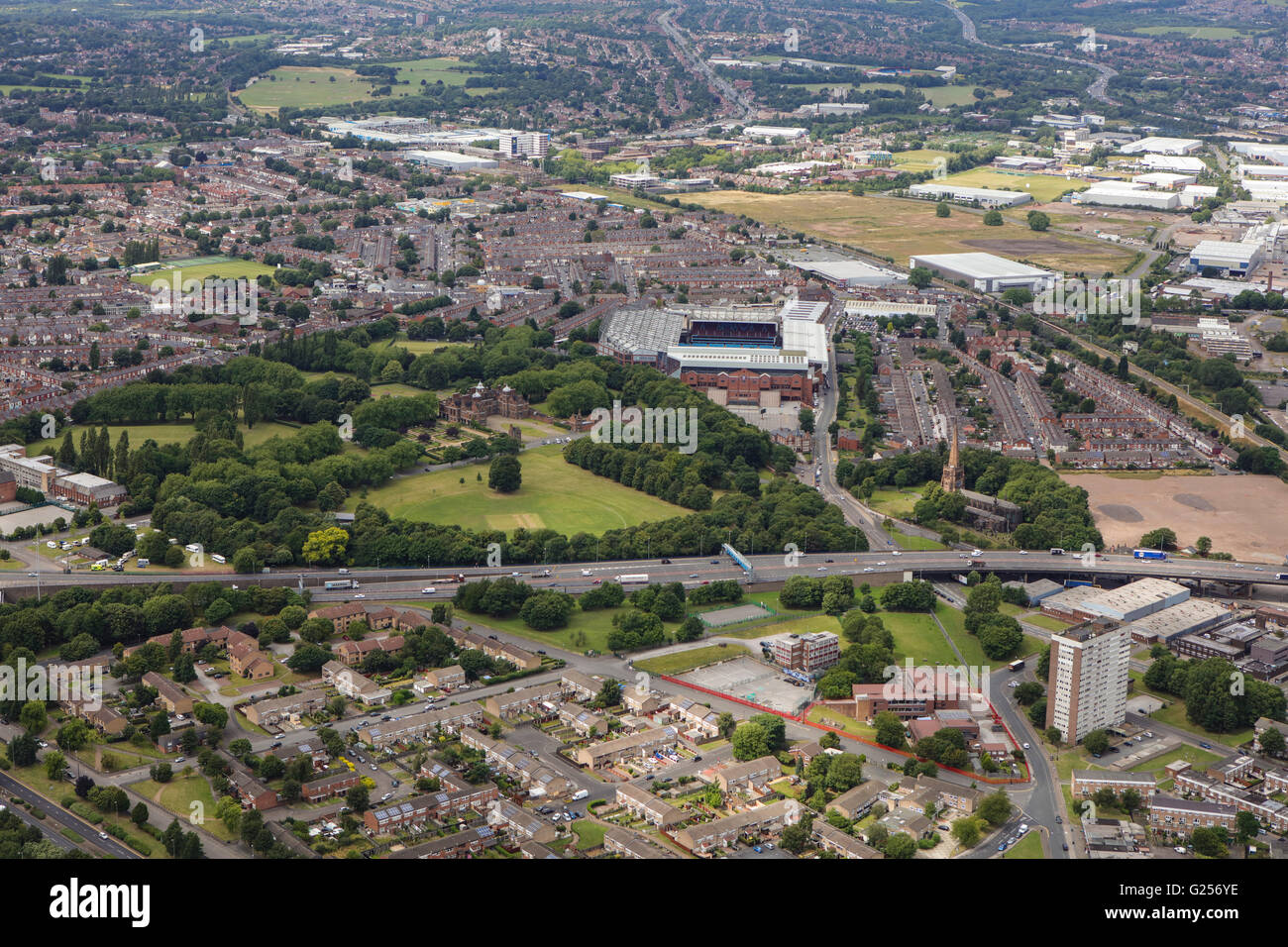 An aerial view of the Aston and Witton suburbs of Birmingham - Stock Image