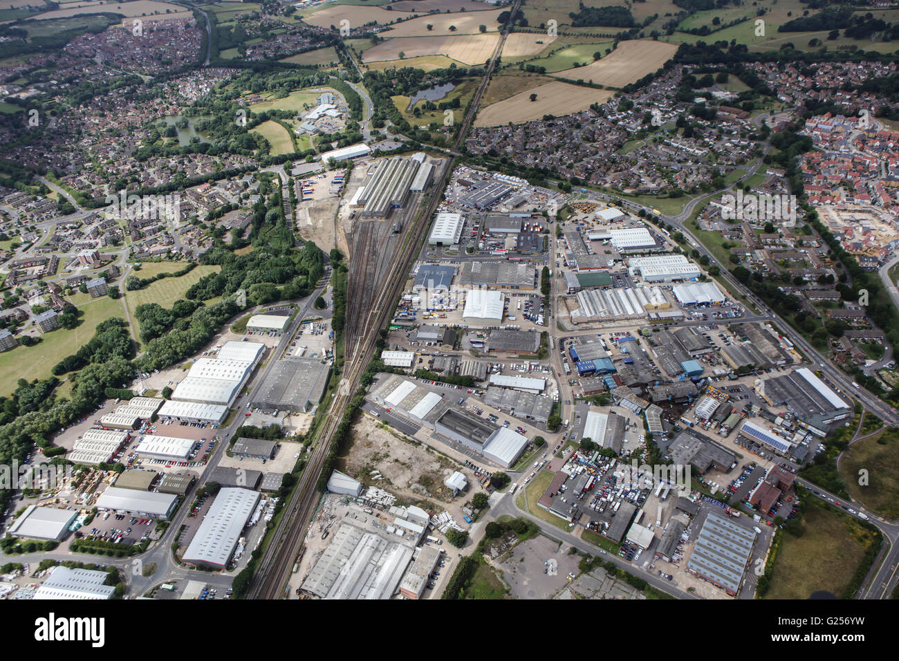 An aerial view of the Cobbswood Industrial Estate, Ashford, Kent - Stock Image