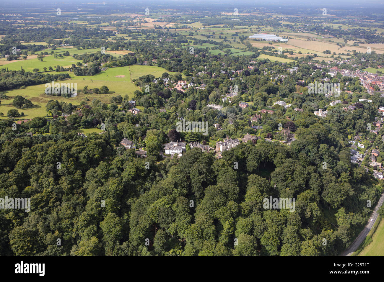 An aerial view of the Cheshire village of Alderley Edge - Stock Image