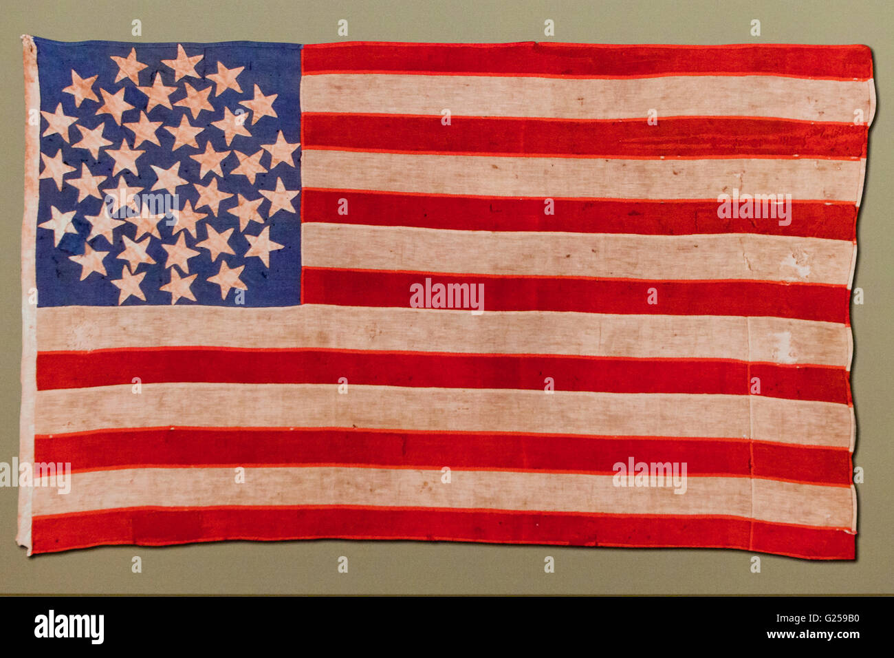 US flag with medallion formation, used in 1860s - Stock Image