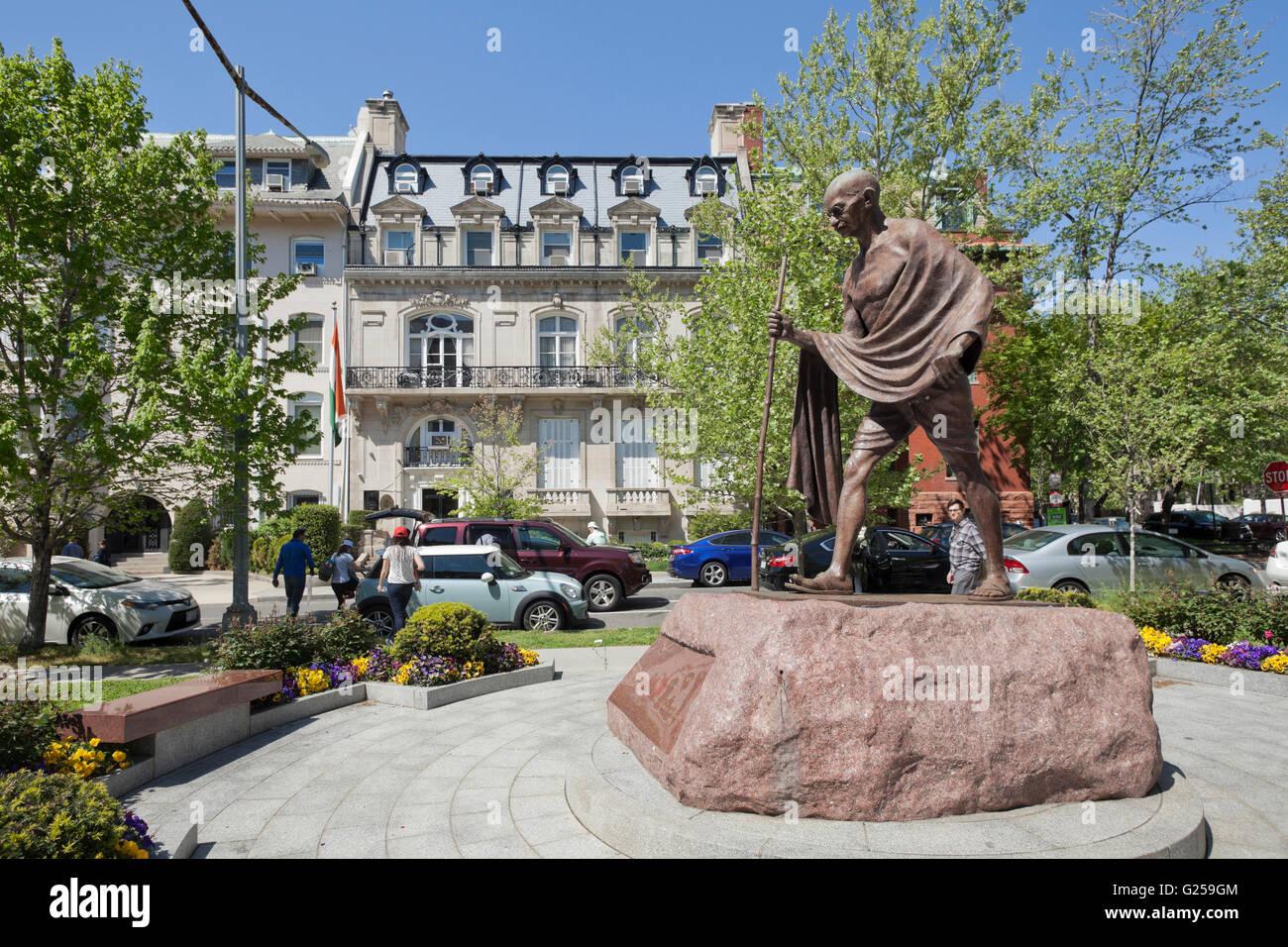 Mahatma Gandhi statue in front of the Embassy of India - Washington, DC USA - Stock Image