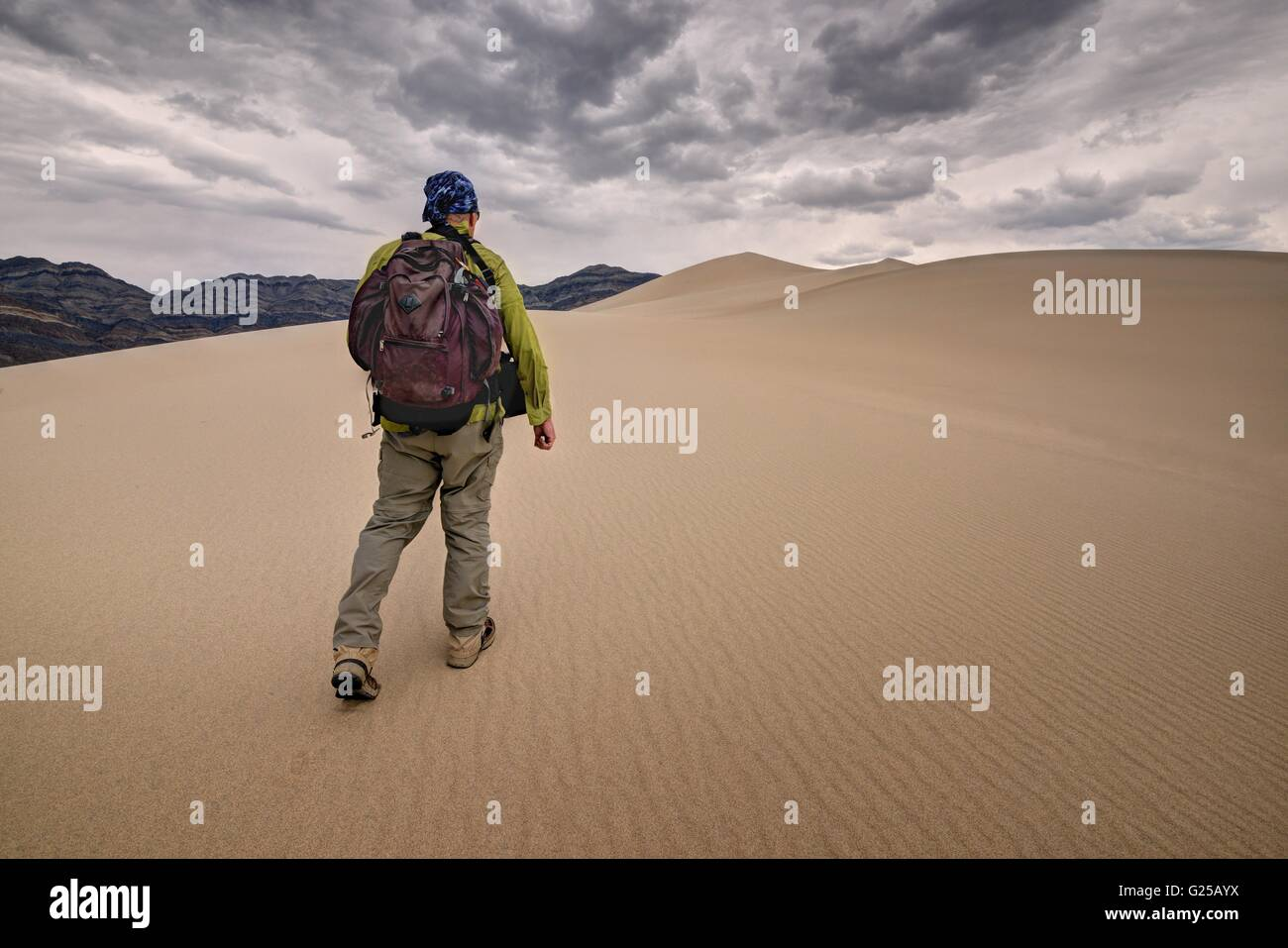 Man walking across Eureka Sand Dunes, Death Valley National Park, California, America, USA - Stock Image