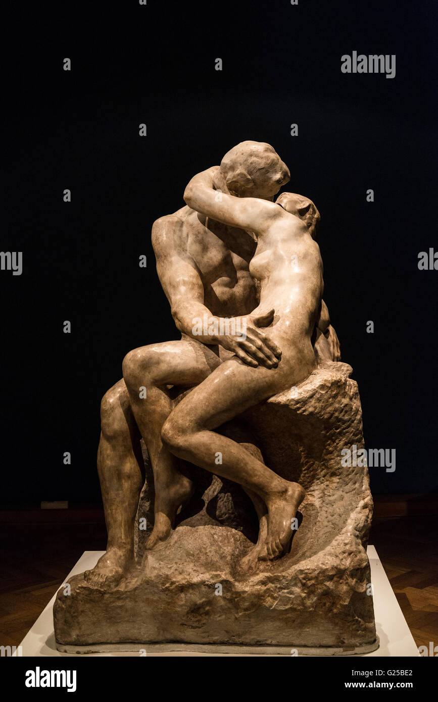 August Rodin 'Kiss', National Museum of Fine Arts, Buenos Aires, Argentina - Stock Image