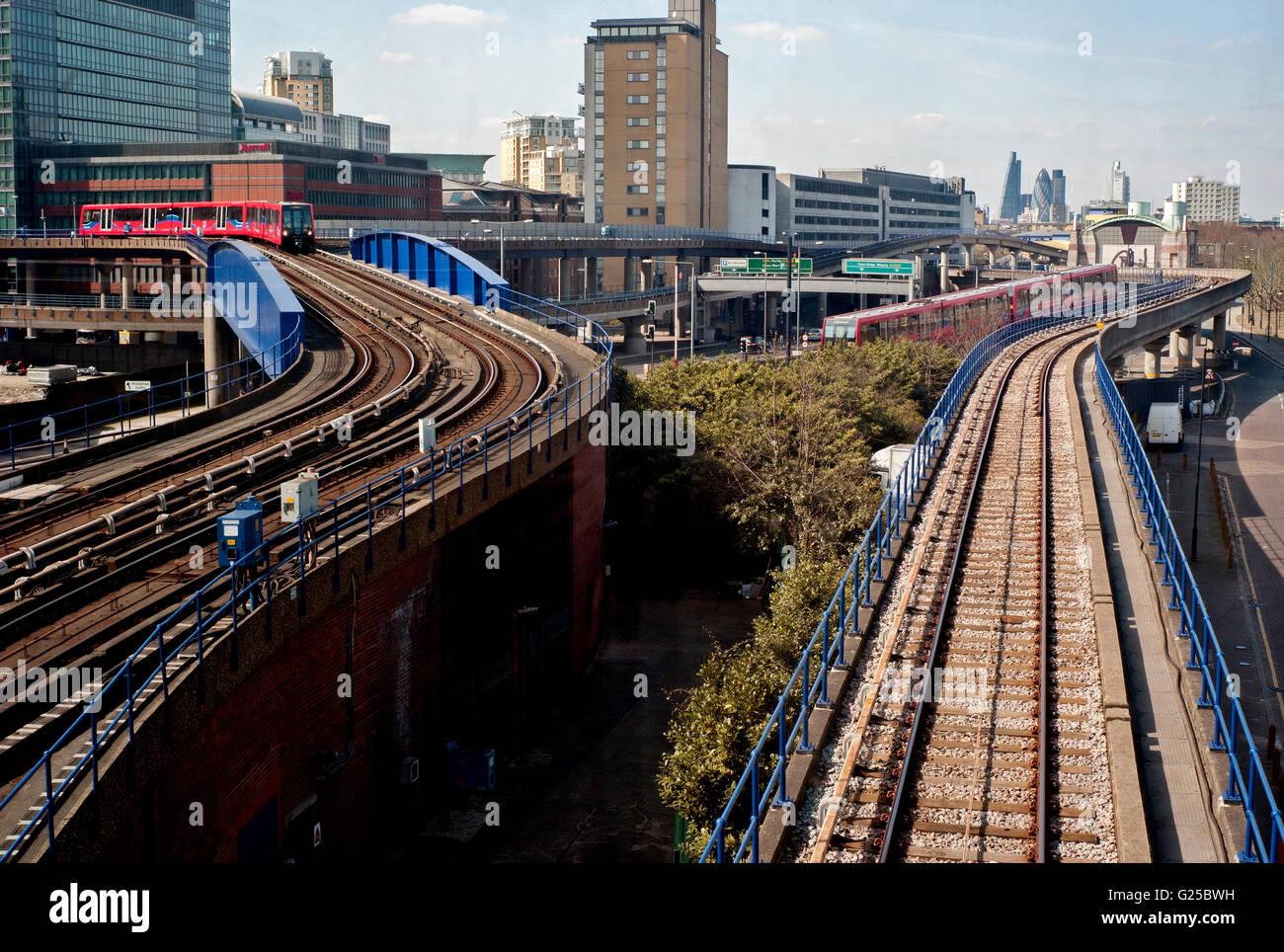 London light railway tracks and train - Stock Image