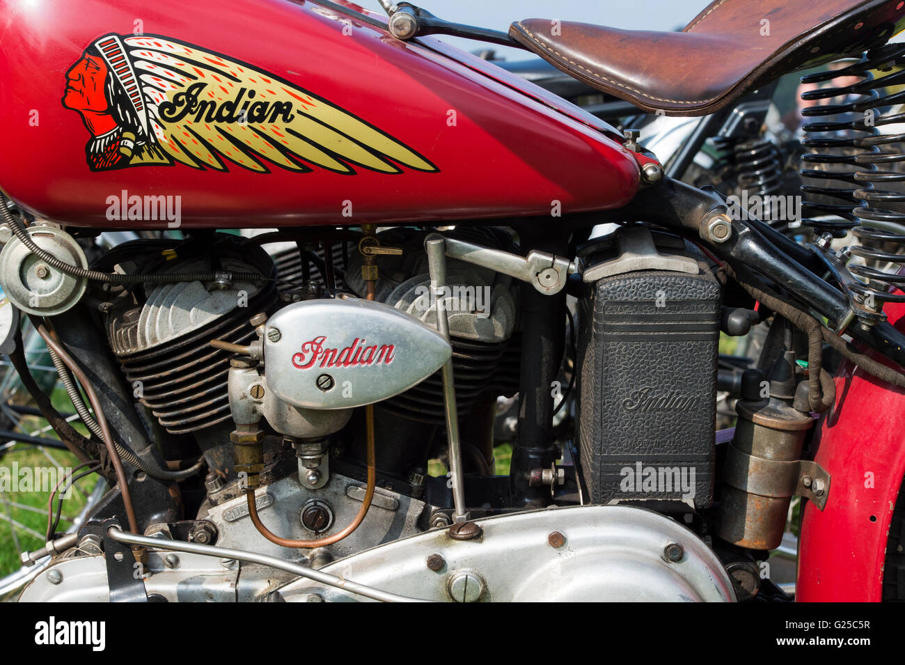 Indian 741b Scout motorcycle. Classic American motorcycle - Stock Image