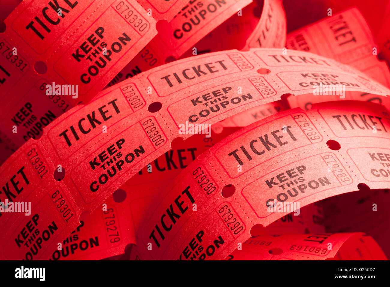 Unwound Messy Roll of Red Tickets Piled Up. - Stock Image