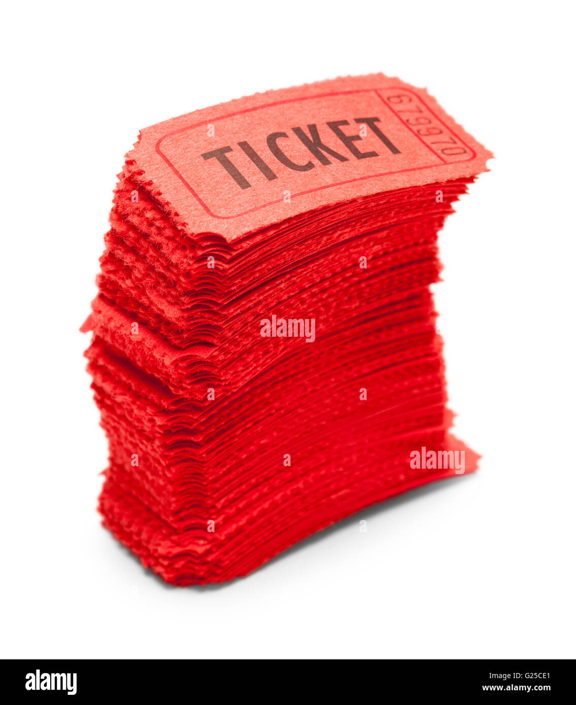 Stack of Red Tickets Tipping Over Isolated on White Background. - Stock Image