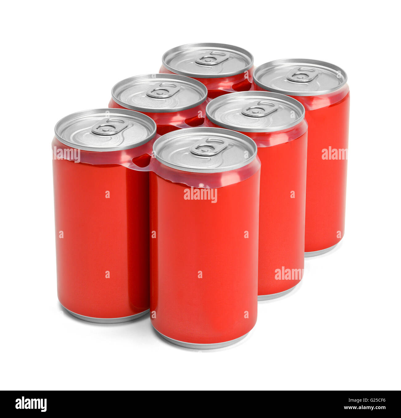 Six Pack of Red Soda Cans with Copy Space Isolated on White Background. Stock Photo