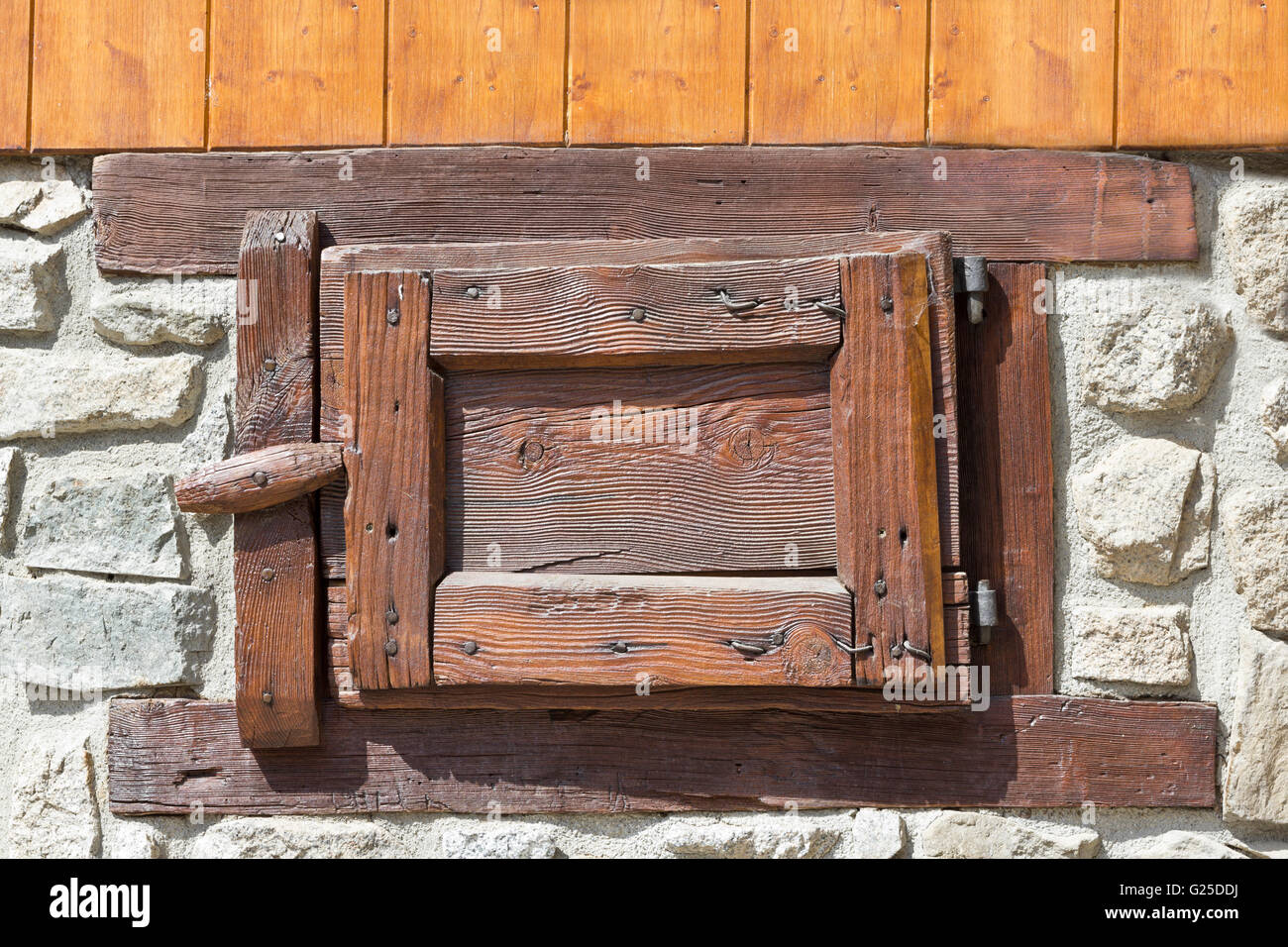 old wooden windows, typical of the stables - Stock Image
