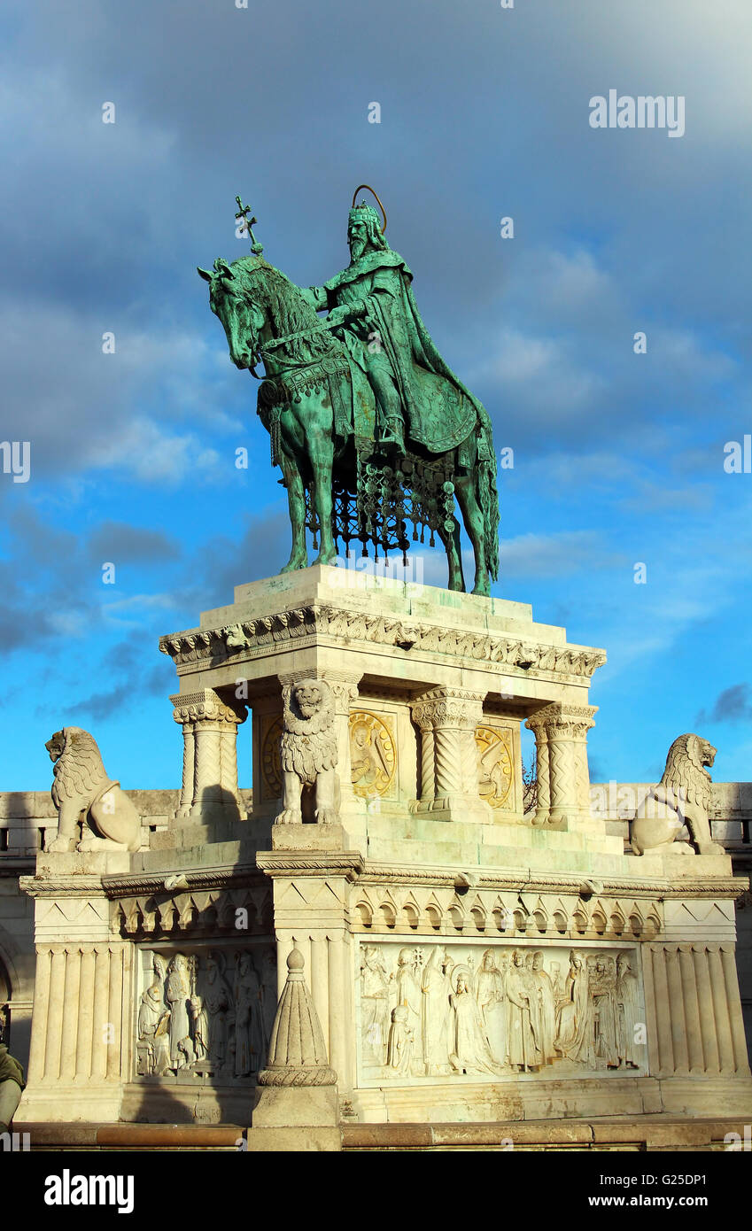 Stephen I monument at Fisherman's Bastion in Budapest, Hungary Stock Photo