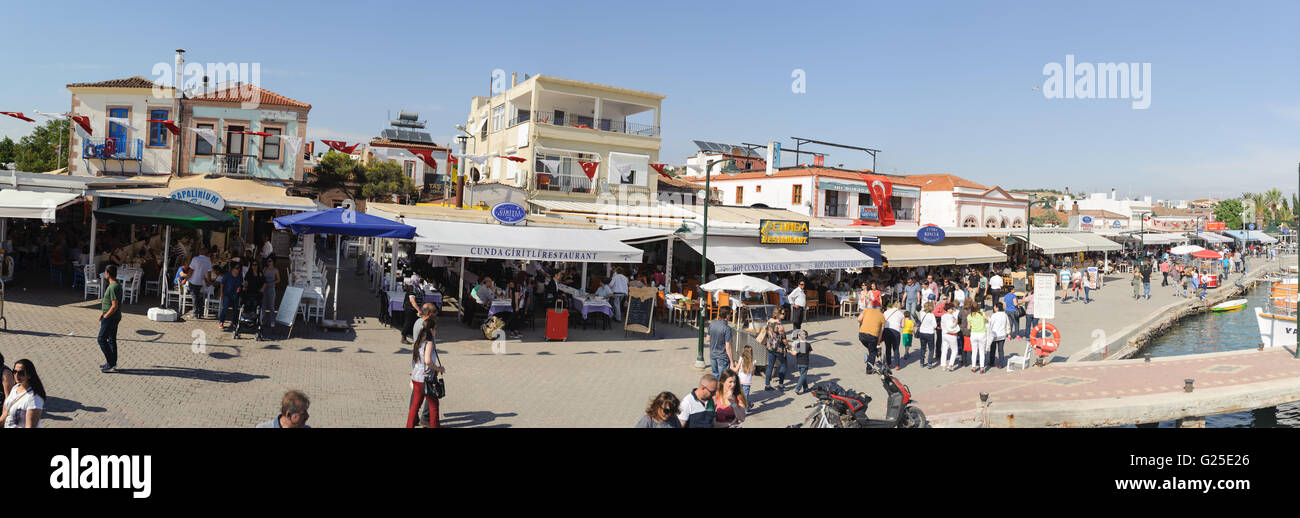 Cityscape panorama of touristic town, Cunda Alibey Island, Ayvalik. It is a small island in the - Stock Image