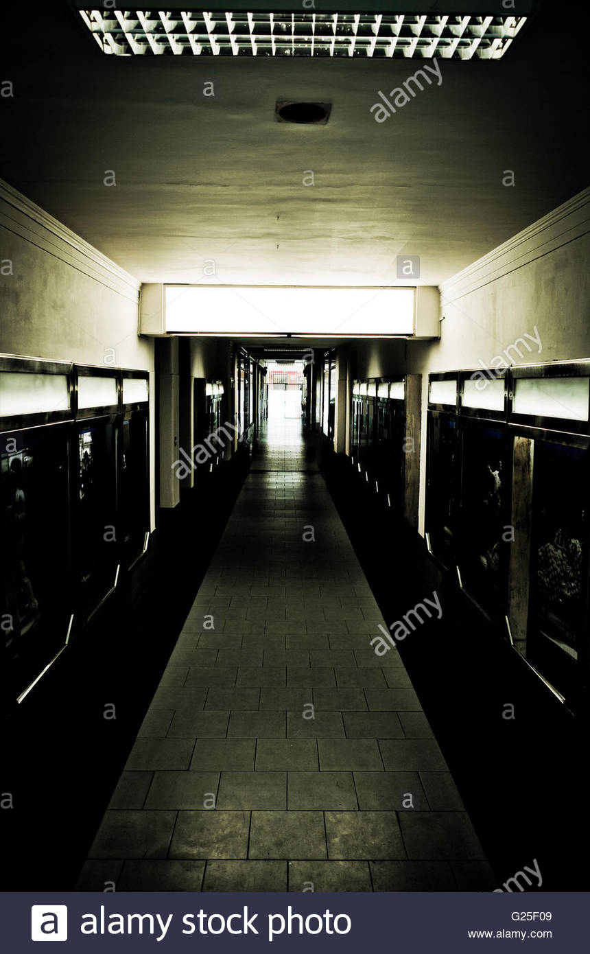 long dark corridor or passage - Stock Image