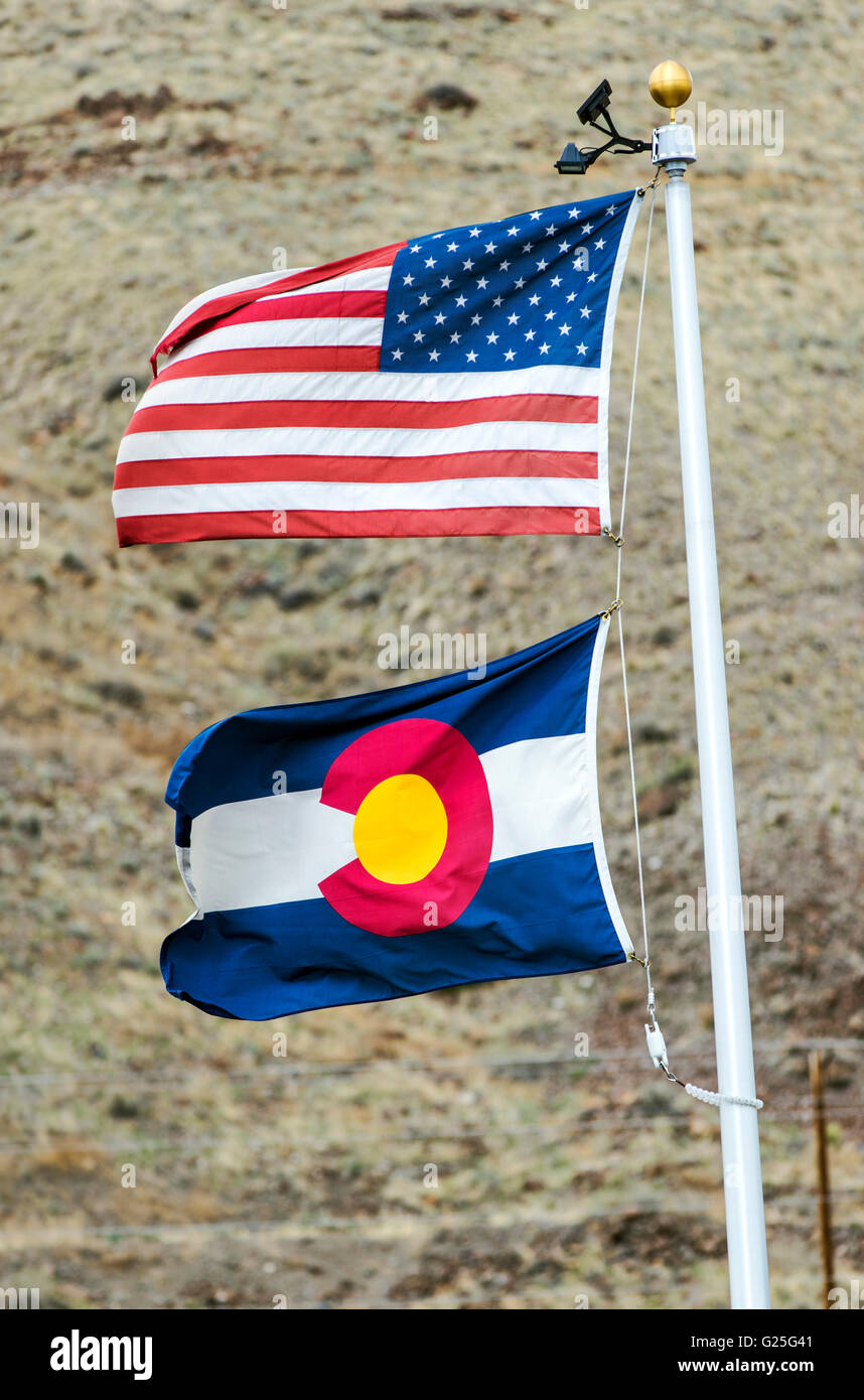 American Flag; Old Glory; Stars & Stripes & Colorado State Flag - Stock Image